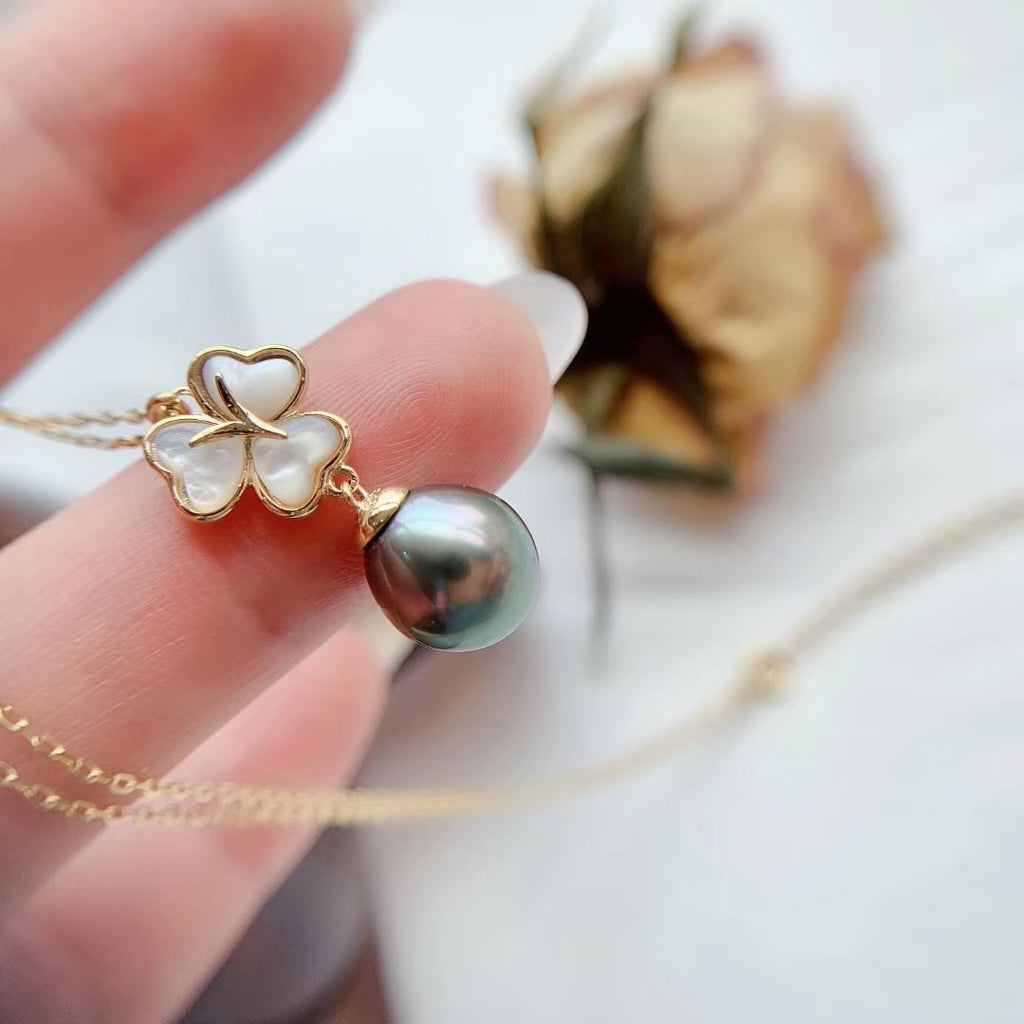 Natural Pearl Sliver Clover Pendant Vermeil Necklace