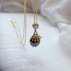 Natural Pearl Sliver Crown Pendant Vermeil Necklace