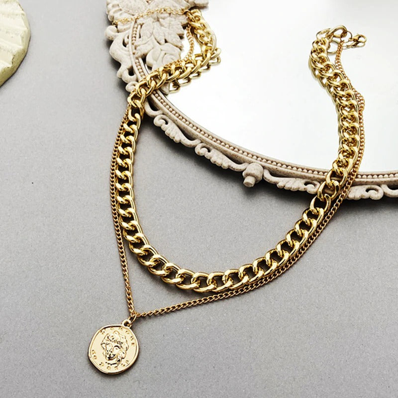 Vintage Multi-layer Coin Chain Choker Necklace
