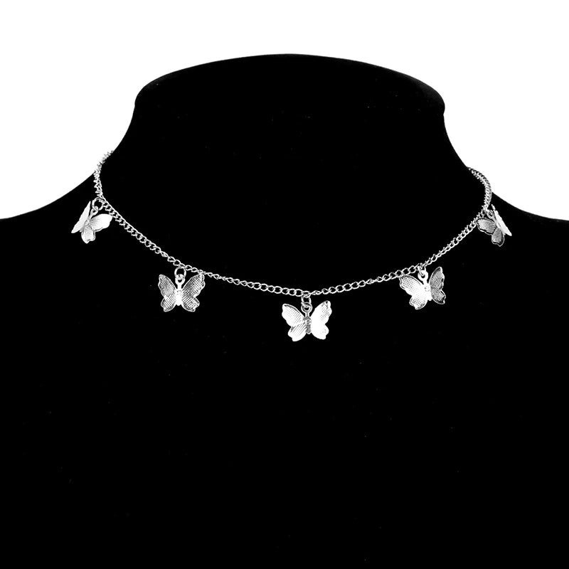 Gold Chain Butterfly Pendant Choker Necklace