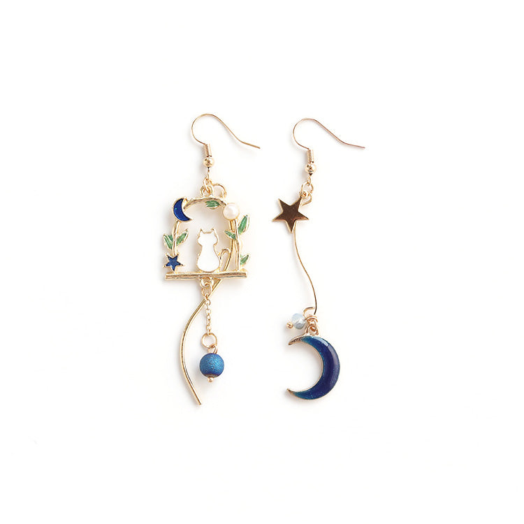 Cat under Moon Drop Earrings