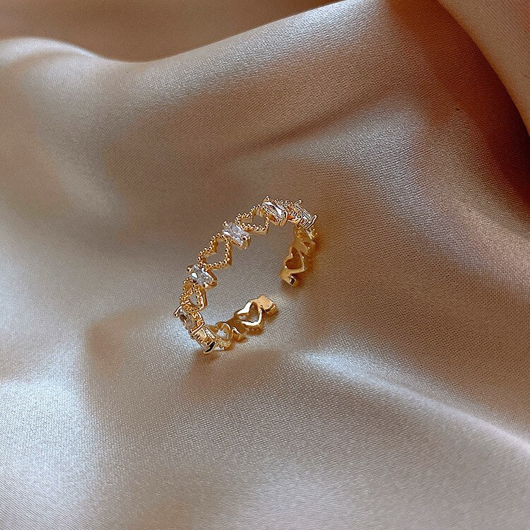 Hollow Heart-shaped Exquisite Opening Finger Ring