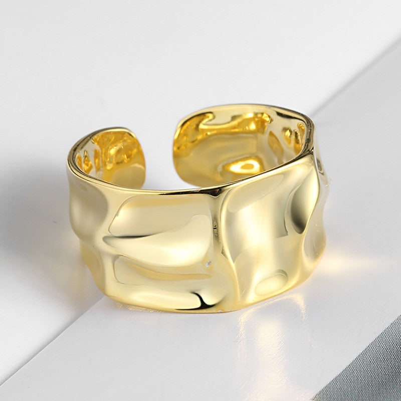 Irregular Concave Convex Width Open Finger Ring