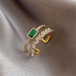 Fashion Versatile Retro Green Double-layer Open Ring