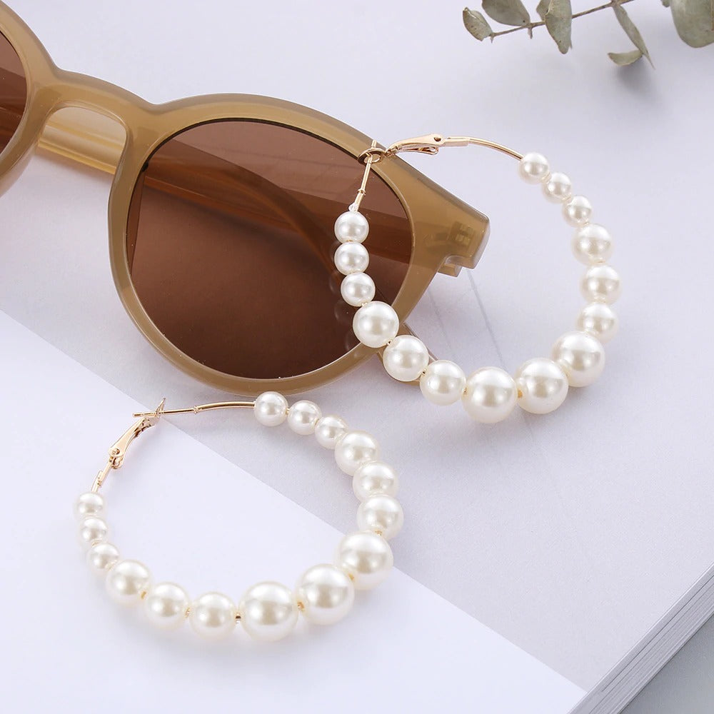 Big Circle Pearls Round Loop Earrings