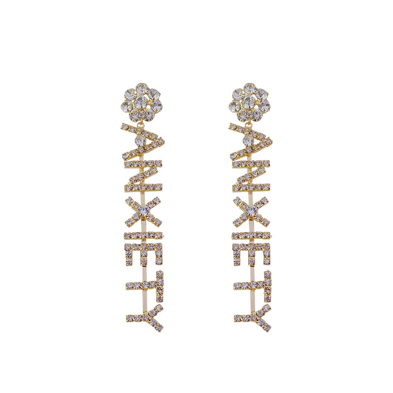 Anti-Anxiety Large Letter Pave Long Drop & Dangle Earrings