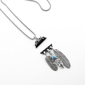 Sterling Silver Feather Pendant Necklace for Apple Watch
