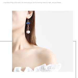 Running Cat with Blue Planet Drop Earrings