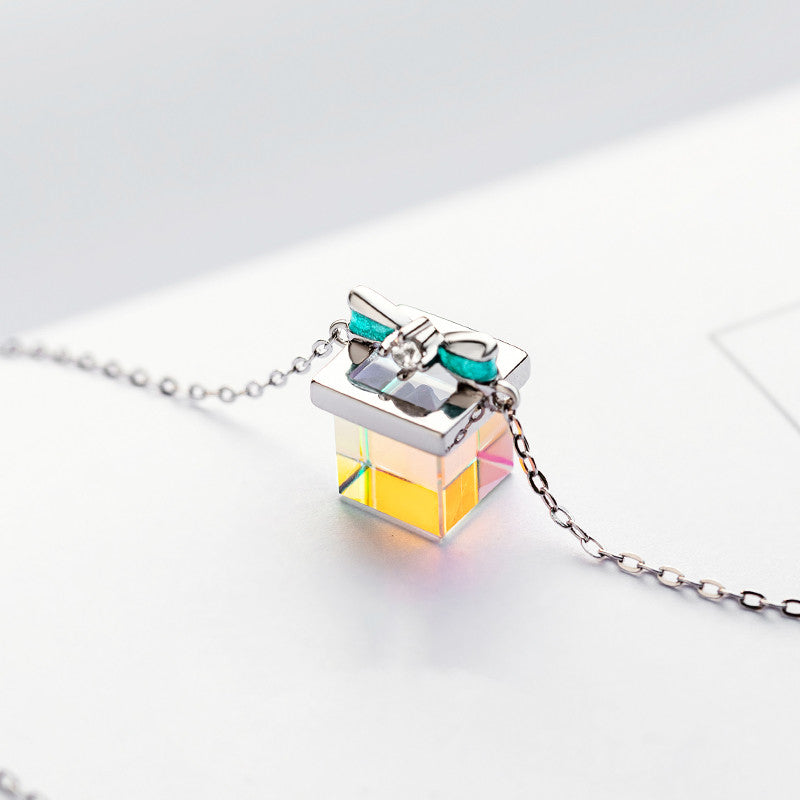 925 Silver Color Light Bow Prism Necklace