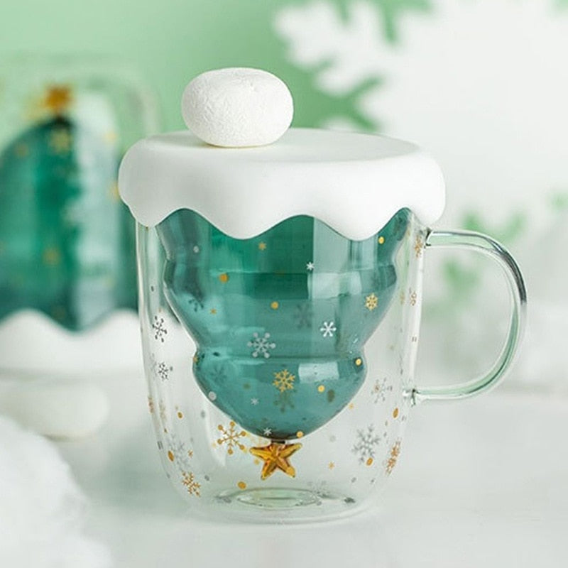 3D Transparent Double Glass Christmas Tree Coffee Mug
