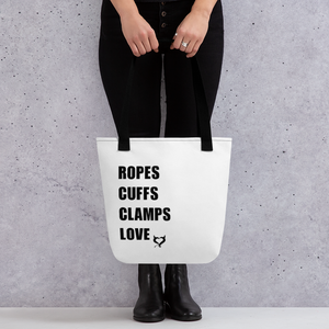 Ropes Cuffs Clamps Love - 4 Things Fetish Threads Tote Bag