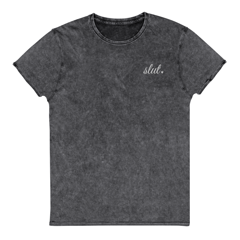 Slut Embroidery - Fetish Threads Denim T-Shirt