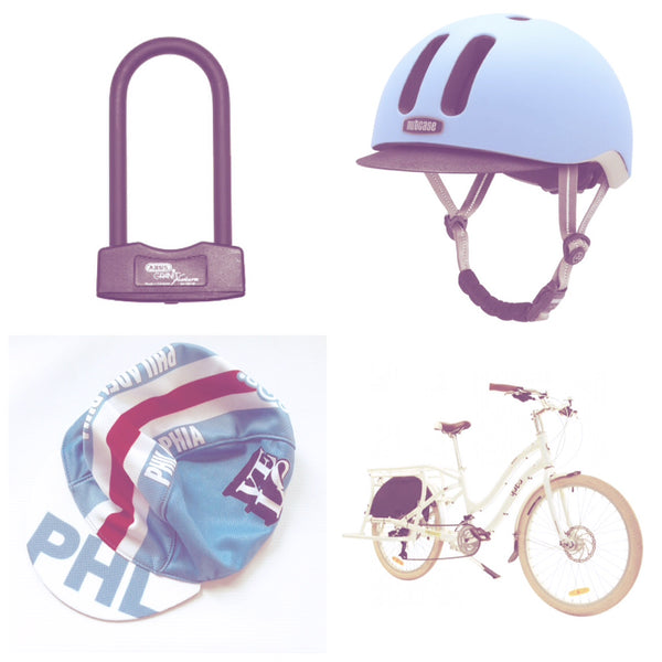 cycling cap, compact cargo bike,  lightweight bike lock, and bike helmet