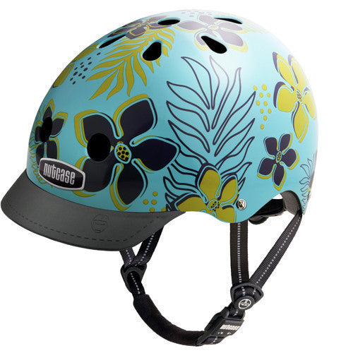 turquoise helmet with dark blue and olive tropical design