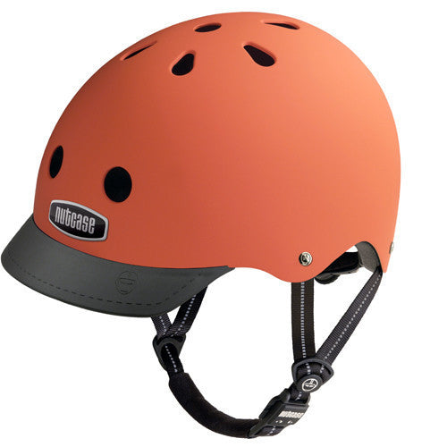 matte orange helmet black visor and strap