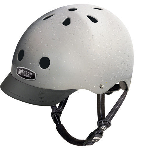 silver glitter helmet with black visor and strap