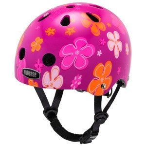 hot pink helmet with pale pink and orange flowers