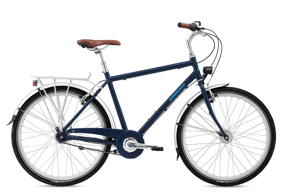 navy blue bike with bright blue logo brown seat and grips