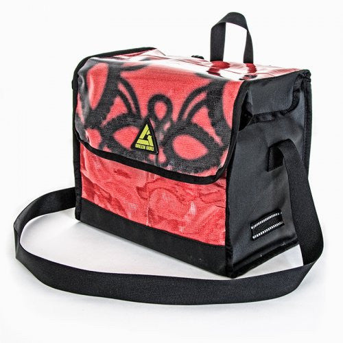 multi color bag with black sides and strap