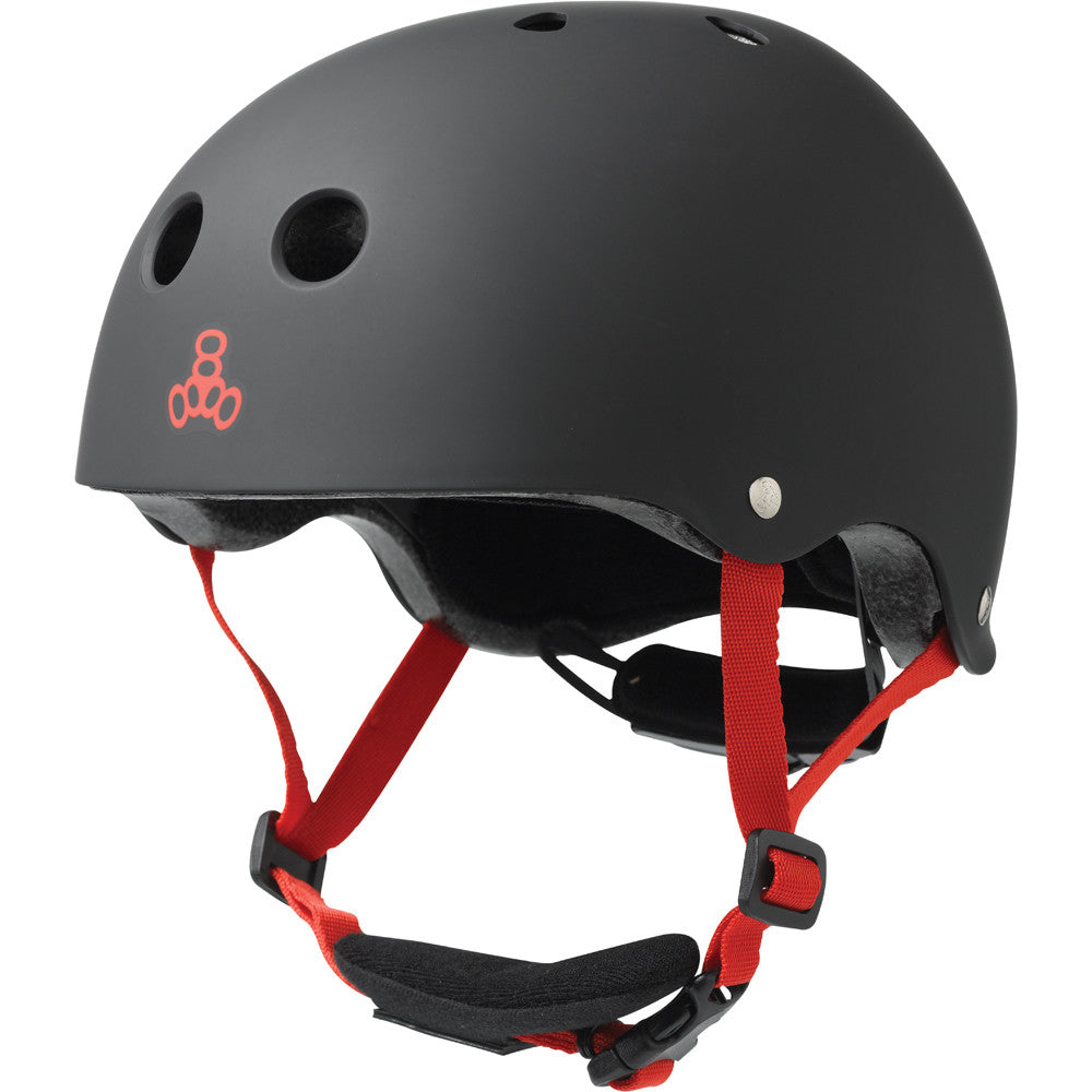 matte black helmet red logo and straps black chin pad