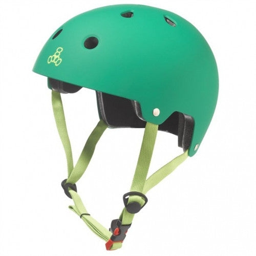 green helmet light green logo and straps red buckle