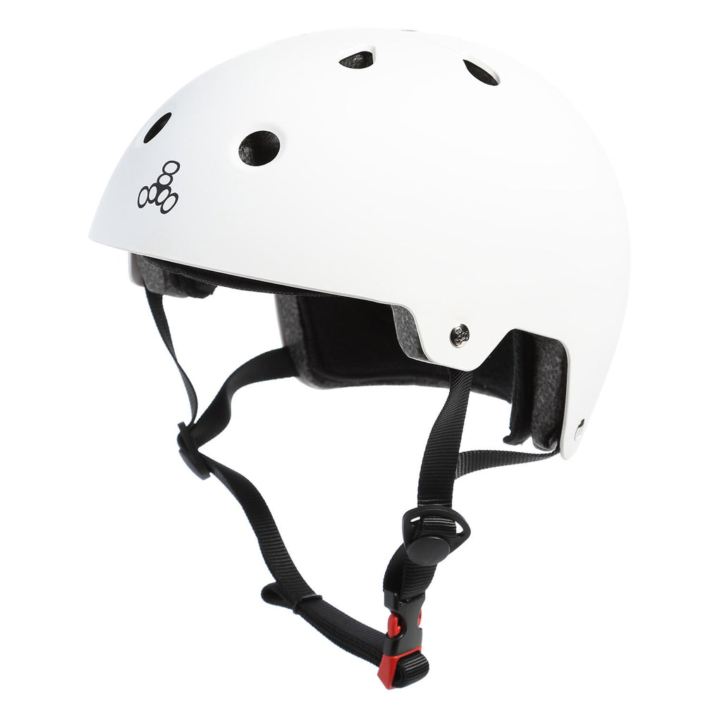 white helmet black logo and straps red buckle