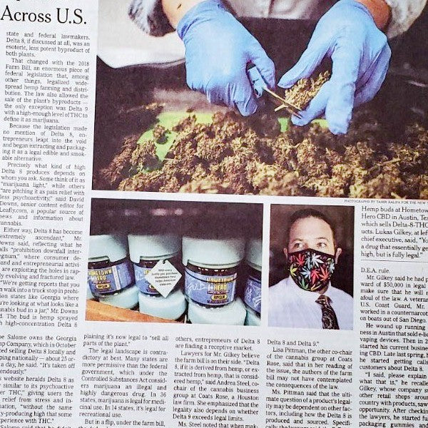 Hometown Hero CBD in The New York Times