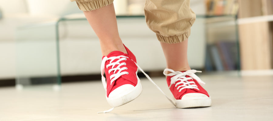 Tripping over shoelaces