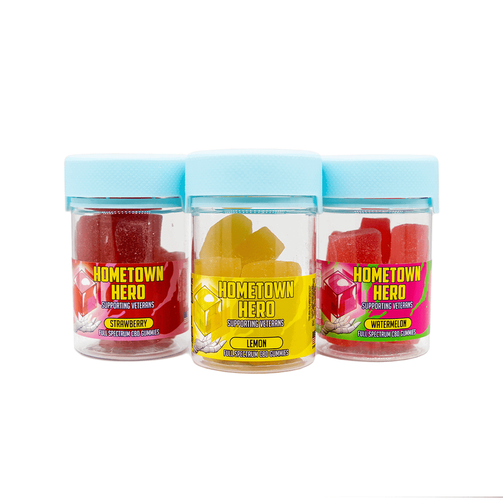 Hometown Hero CBD Gummy Flavor Pack. Lemon, Strawberry, and Watermelon CBD Gummies.