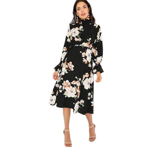 Black Print Panel Floral Dress Ruffle Autumn Dresses | Zero to One NY