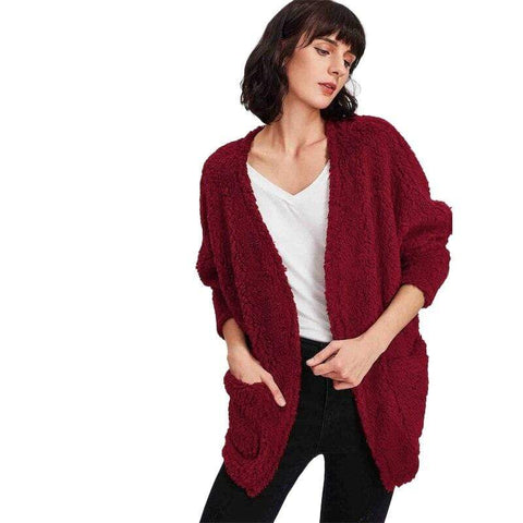 Burgundy Faux Fur Cardigan Coat | Zero to One NY
