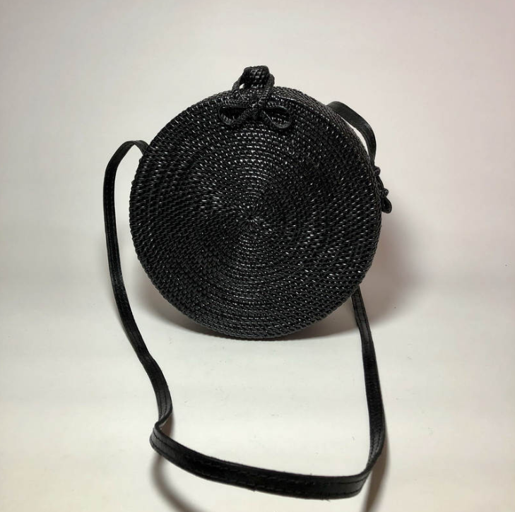 Round Black Crossbody Rattan Bag