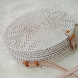 Handmade Women White Rattan Bag