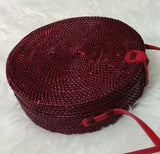 Red Circle Straw Woven Rattan Handbag