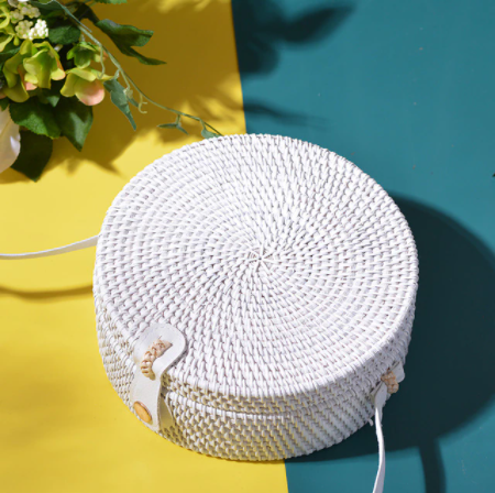 Handmade Regular White Rattan Bag