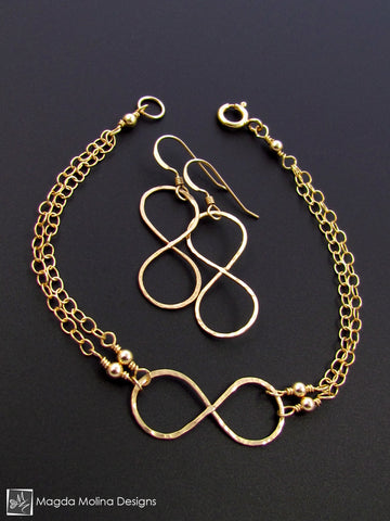 Set: Gold Infinity Bracelet and Earrings