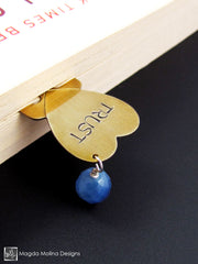 "Brass Heart Bookmark With Hand Stamped ""TRUST"" Affirmation And Stone"