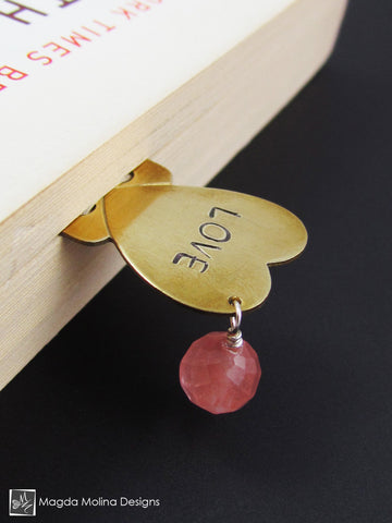 "Brass Heart Bookmark With Hand Stamped ""LOVE"" Affirmation And Stone"