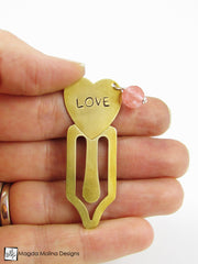 "Brass Heart Bookmark With Hand Stamped ""JOY"" Affirmation And Stone"