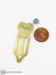 "Brass Heart Bookmark With Hand Stamped ""BLISS"" Affirmation And Stone"