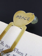 "Brass Heart Bookmark With Hand Stamped ""PEACE"" Affirmation And Stone"