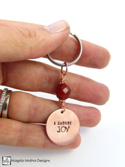 "Copper / Stainless Steel Keychain With ""I choose LOVE / PEACE / JOY / ME"" Affirmation And Stone"