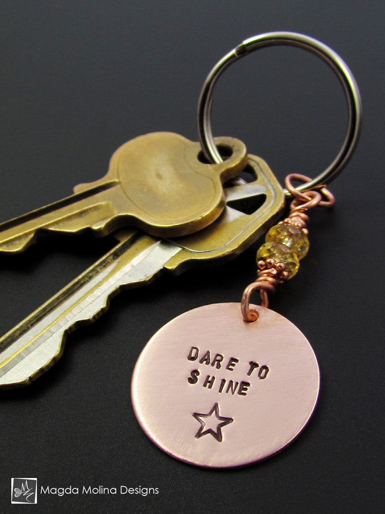 "Copper Keychain With ""DARE TO SHINE"" Affirmation And Citrine Gemstones"