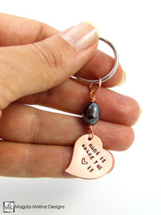 "Copper Heart Keychain With ""HOME IS WHERE THE HEART IS"" Affirmation And Hematite"