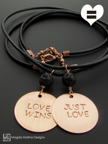 The JUST LOVE or LOVE WINS Copper Omnisex Necklace