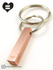 The PEACE LOVE & UNITY Copper Keychain