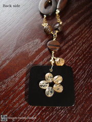 The Long Gold, Ebony And Rutilated Quartz Necklace With Shell Mosaic Pendant