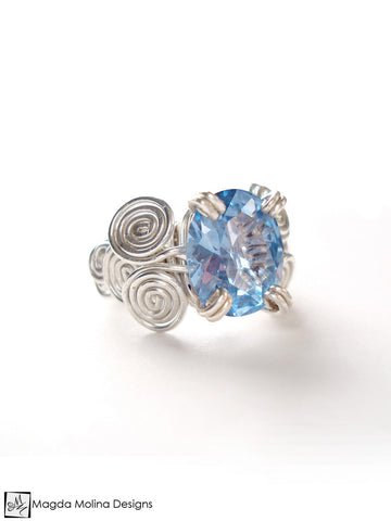 The Clear Blue CZ Ring Wire Wrapped In Silver