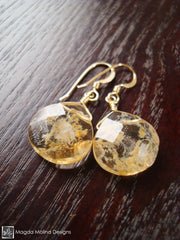 The Elegant Gold And Rutilated Quartz Dangle Earrings
