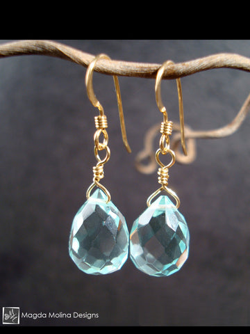 The Elegant Gold And Light Blue Quartz Drops Earrings